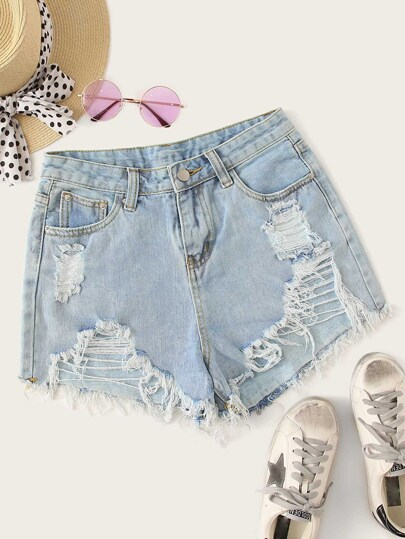 Raw Hem Stitch Detail Ripped Denim Shorts
