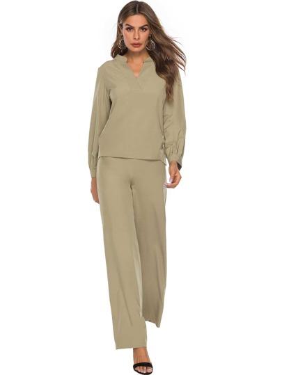 17c5eef92af Однотонные блуза и широкие брюки
