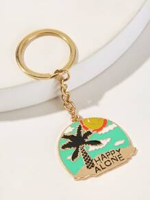 Coconut Tree & Letter Engraved Metal Pendant Keychain