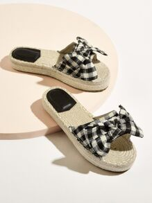 Plaid Pattern Bow Tie Flat Slippers
