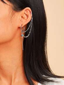 Bar Detail Hoop Earrings With Ear Cuff 1pc