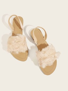 Feather Decor Slingback Sandals