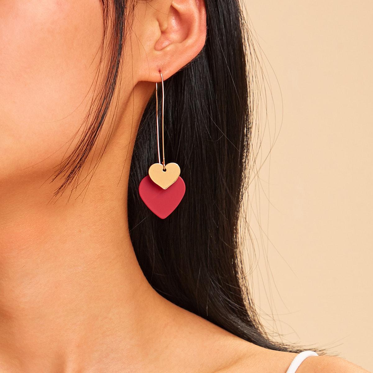 Серьги-подвески в форме двойного сердца 1 пара