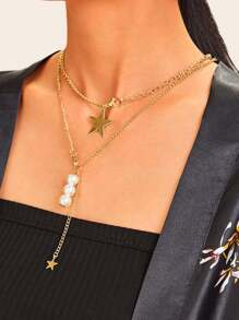Star Pendant Layered Chain Necklace 1pc