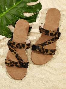 Strappy Leopard Slippers