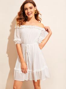 Off Shoulder Frill Trim Jacquard Flare Dress