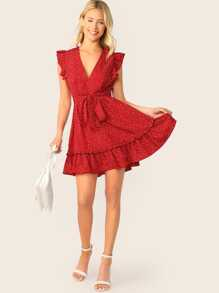 Plunging Neck Ruffle Armhole Self Belted Dress
