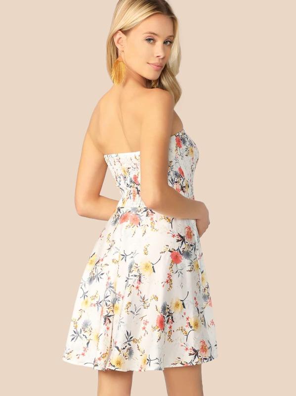 48d27b8c Floral Print Shirred Bandeau Skater Dress | SHEIN UK