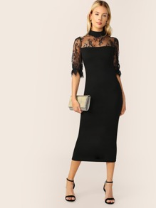 Mock Neck Eyelash Lace Yoke Split Pencil Dress