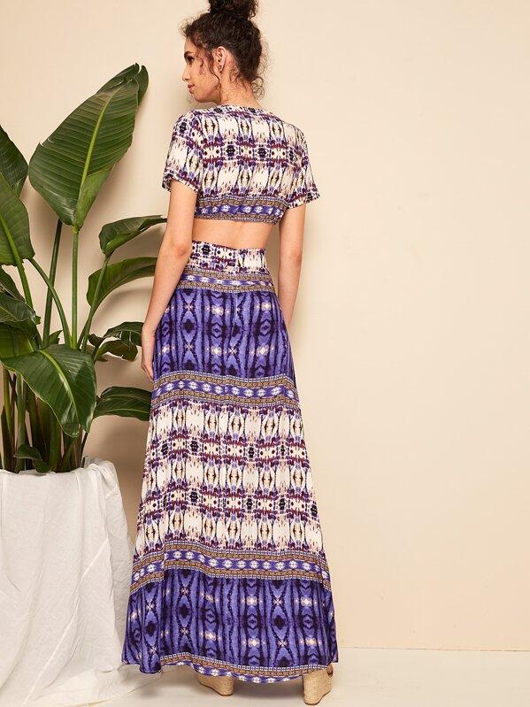 00c3b2575f Cheap Deep V Neck Peekaboo Aztec Print Maxi Dress for sale Australia | SHEIN