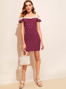 56f5f79f0e4 Lace Strap Ruched Front Polka Dot Dress