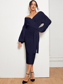 Asymmetrical Neck Lantern Sleeve Wrap Split Dress