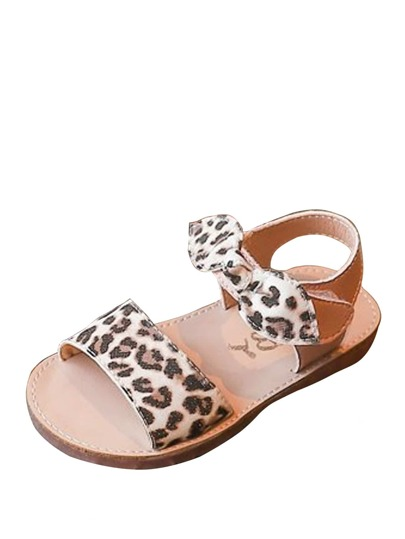 Baby Leopard Pattern Bow Tie Sandals