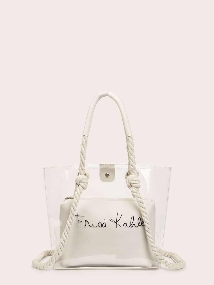 Transparent Braided Handle Bag With Inner Pouch by Sheinside