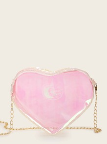 Transparent Heart Chain Crossbody Bag