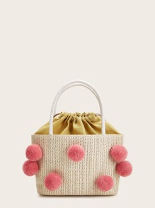 Pom Pom Decor Shoulder & Tote Bag