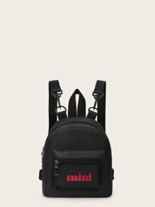 Letter Pattern Front Zipper Backpack