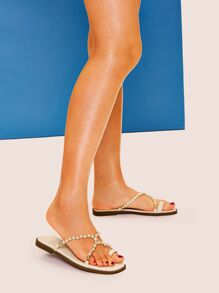 Pearl Detail Toe Ring Flat Sandals