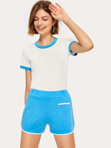 Ringer Tee With Elastic Waist Shorts