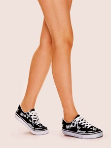 Letter Pattern Lace-up Sneakers