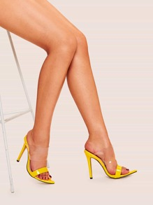 Transparent Stiletto Heeled Mules