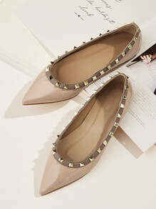Studded Decor Point Toe Flats