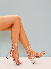 Strappy Lace-up Chunky Heels