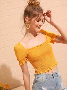 Shirred Frill Trim Crop Blouse