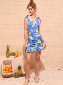 Lemon Print Ruched Tiered Layer Dress