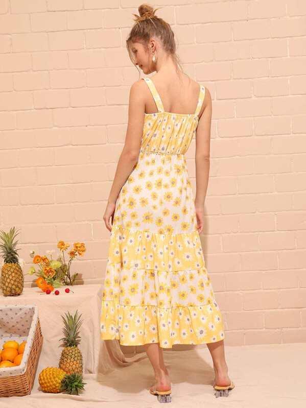 93b50bd681f Allover Floral Print Self Tie Straps Dress