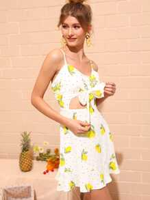 Lemon Print Tie Front Peekaboo Cami Dress