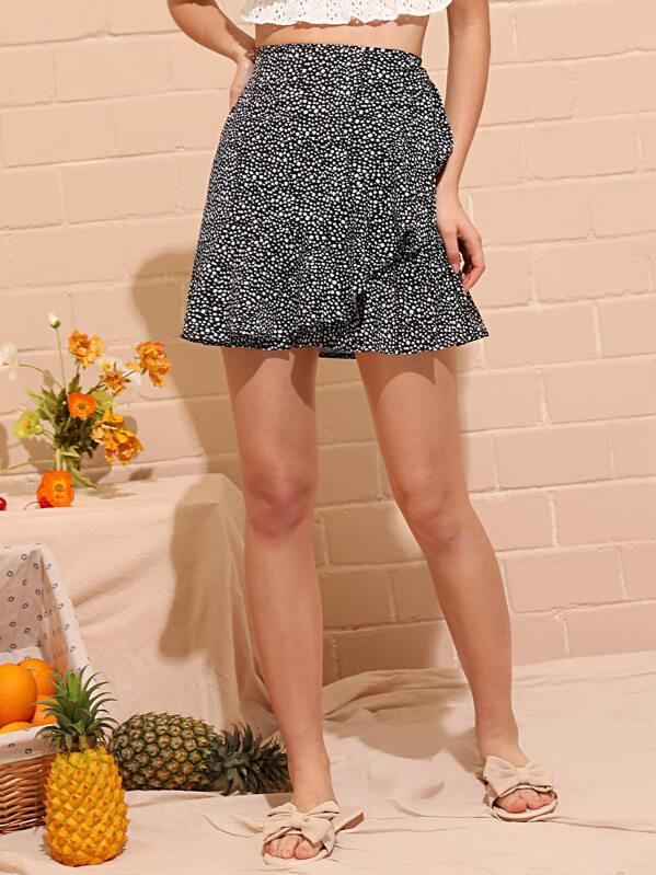 638a98569010d Dalmatian Print Ruffle Skirt   SHEIN