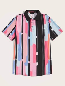 Men Brush Stroke Stripe Print Shirt