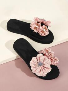 Floral Decor Open Toe Sliders