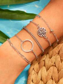Circle & Hollow Tree Detail Chain Bracelet 5pcs