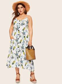 Plus Button Pineapple Print Cami Dress