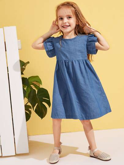 e0ab9c11fbdf Toddler Girls Ruffle Buttoned Back Smock Denim Dress
