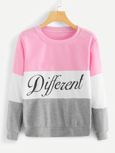 Color Block Letter Graphic Sweatshirt
