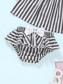 09d38a619e Baby Ruffle Trim Stripe Top With Shorts | SHEIN