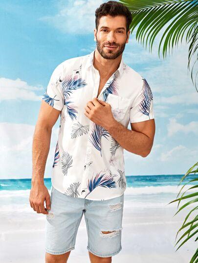 ea5929b6393 Men Leaf Print Pocket Front Shirt