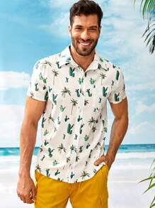 Men Cactus Print Pocket Front Shirt