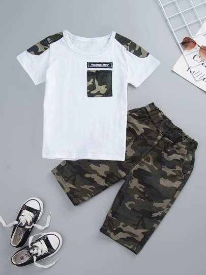 e68027d2 Toddler Boys Camo Panel Letter Patched Tee With Trousers
