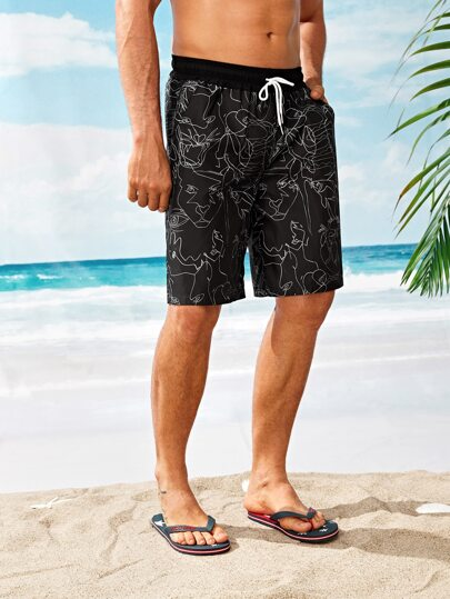 c6e2e599d56c Men Abstract Print Drawstring Waist Shorts