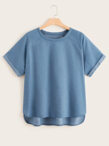 Plus Solid Raglan Sleeve Denim Top