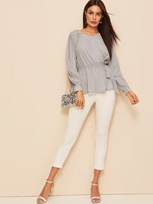 Pleated Sleeve Shirred Waist Tie Side Blouse