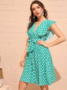 Polka Dot Button Front Belted Dress