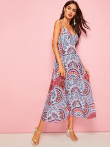 Tribal Print Lace-up Back Cami Dress