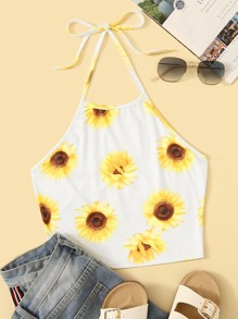 Sunflower Print Halter Top