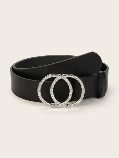 fc63590ea571eb Gürtel mit Strass, gravierten doppelten Ringen und Schnalle
