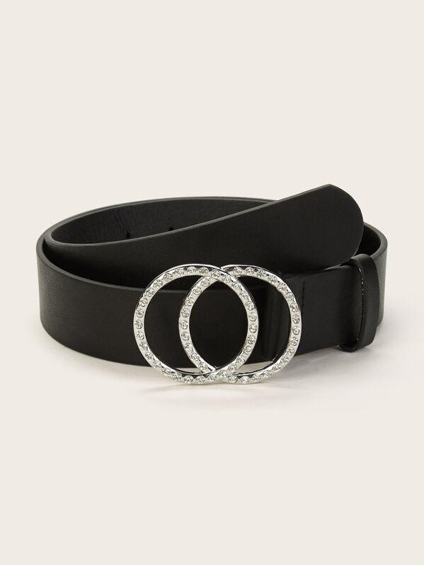 1d1eb22240 Rhinestone Engraved Double Ring Buckle Belt